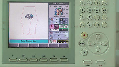 Process of Embroidering Machine Element and Screen Has Footage
