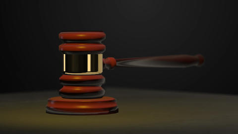 3D Animation of Judge's Gavel Hitting Sounding Block as Symbol of Justice Footage