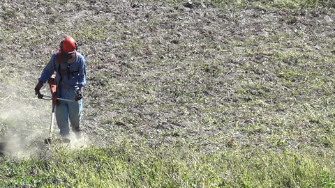 Worker who cleans with the cutter gasoline, a land filled with weeds, located at Footage