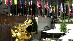 New York City 701 golden statue & fountains on Rockefeller Plaza Footage