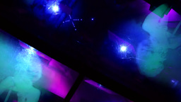 New York City 705 light show in high-speed lift of Rockefeller center Footage