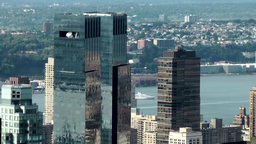 New York City 708 twin towers of Time Warner Center from above Footage