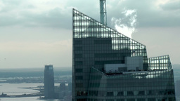 New York City 721 Bank of America tower roof construction with smoke Footage