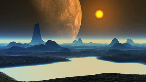 Huge Alien Planet and Sunset GIF