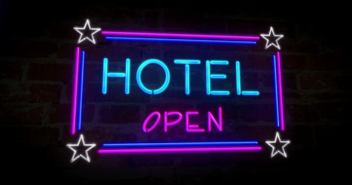 Hotel neon on wall Animation