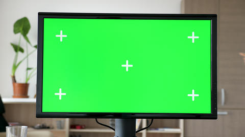 Modern Personal computer with big screen chroma mock up Live Action