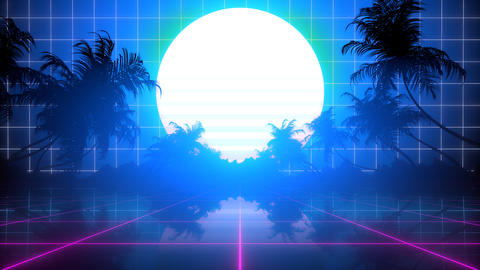 Retro Palm Trees Horizon Animation