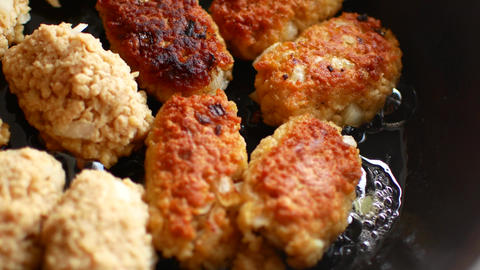 Cutlets from soy meat. Vegan concept. Without meat Live Action