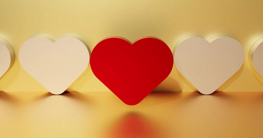Red heart as a symbol of love. Dating service search concept. 3d rendering CG動画