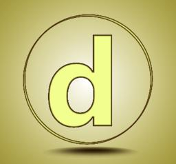 Letter D lowercase, round golden icon on light golden gradient background Vector