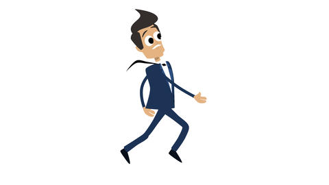 Businessman Cartoon Animation Template 4 - Running CG動画素材