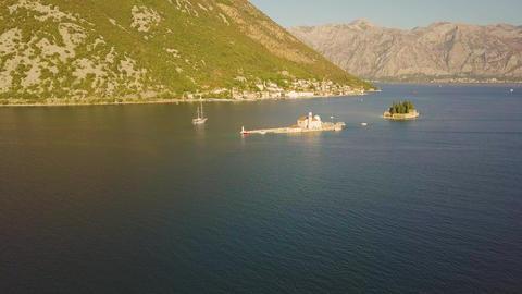Islands Gospa od Skrpjela and Sveti Djordje in the Bay of Kotor, Montenegro Footage