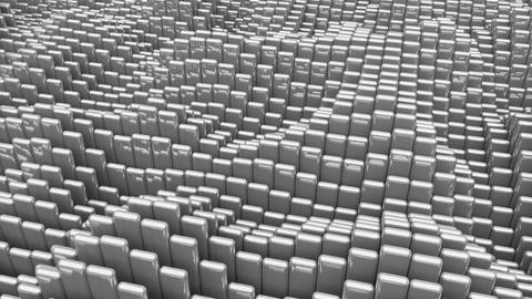 Waving surface with glossy rounded gray cubes animation background GIF
