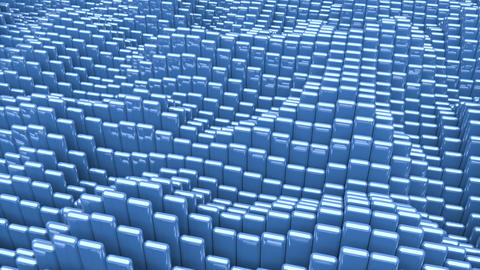 Waving surface with glossy rounded blue cubes animation background Animation