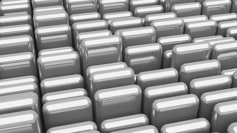 Waving surface with glossy rounded gray cubes close up animation background Animation