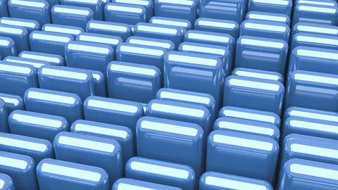 Waving surface with glossy rounded blue cubes close up animation background GIF