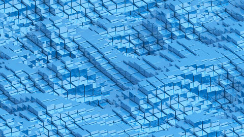 Waving surface with glossy blue cubes animation background GIF