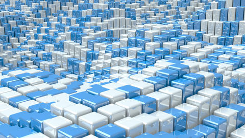 Waving surface with glossy white and blue cubes animation background Animation