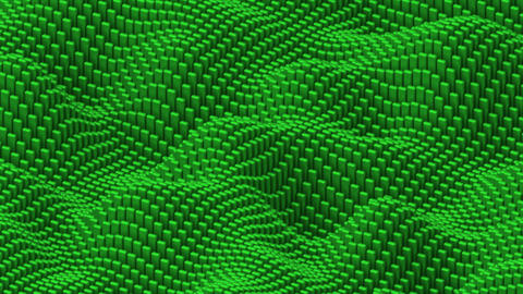 Waving surface with matte rounded green cubes animation background Animation