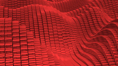 Waving surface with glossy red cubes close up animation background Animation
