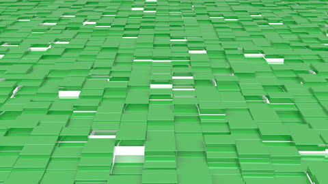 Waving surface with green cubes with lights close up animation background Animation