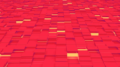 Waving surface with red cubes with lights close up animation background GIF