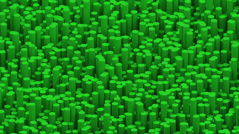 Surface with green cylinders animation background Animation