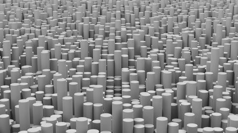 Surface with gray cylinders close up animation background Animation