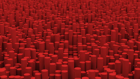 Surface with red cylinders close up animation background Animation