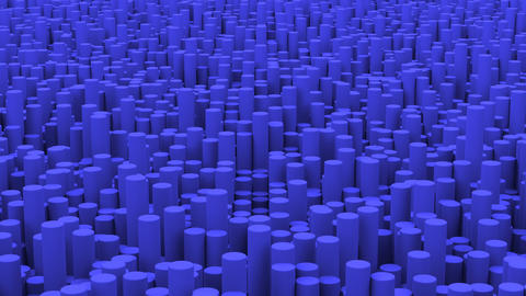 Surface with blue cylinders close up animation background GIF