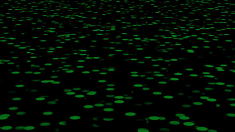 Green circles move on the surface in the dark close up animation background GIF