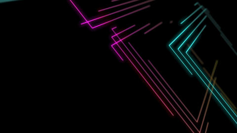 Abstract Line right angle Lighting moving pink yellow and blue color, technology Animation