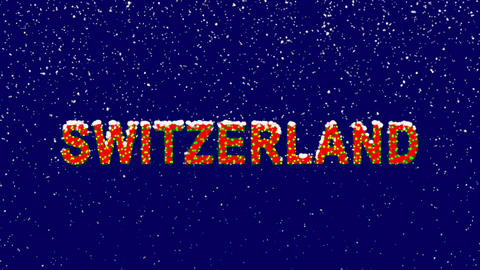 New Year text country name SWITZERLAND. Snow falls. Christmas mood, looped Animation