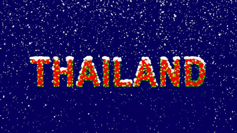 New Year text country name THAILAND. Snow falls. Christmas mood, looped video. Animation