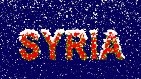 New Year text country name SYRIA. Snow falls. Christmas mood, looped video. Animation