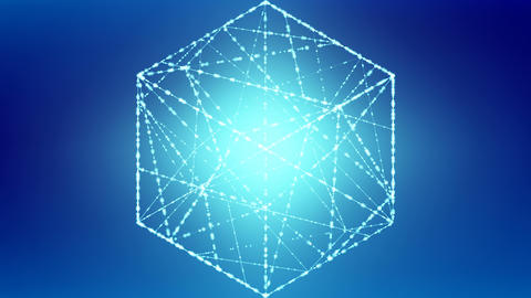 Cube box zoom in moving isometric wireframe polygon bokeh light frame structure Animation