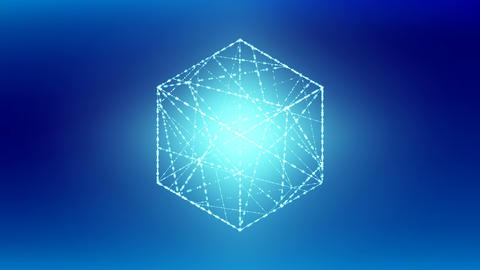 Cube box isometric wireframe polygon bokeh light frame structure, Blockchain Animation