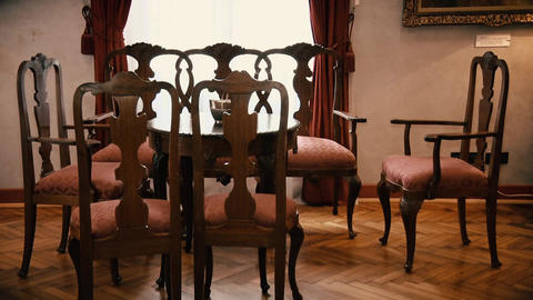 Old style Dining Table with Chairs Live Action