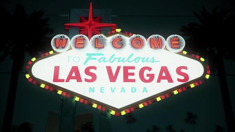 Las Vegas Sign - Nighttime Centered Crash Zoom Stock Video Footage