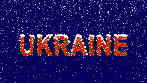 New Year text country name UKRAINE. Snow falls. Christmas mood, looped video. Animation