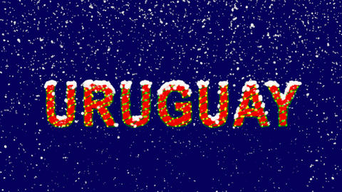 New Year text country name URUGUAY. Snow falls. Christmas mood, looped video. Animation