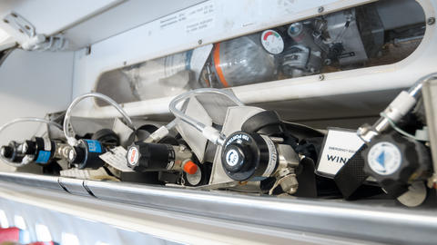 Closeup image of pressure valves on emergency oxygen cylinders in jet aircraft フォト