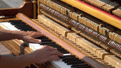 Hands pianist playing music piano. Musical Instrument piano details Live Action