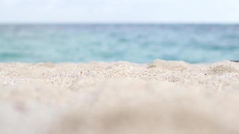 Sandy beach near the beautiful emerald sea Footage