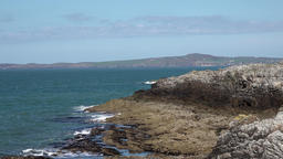 Rocky coastal landscape taken in Holyhead , Anglesey - Wales Footage
