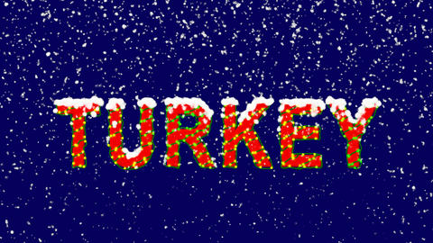New Year text country name TURKEY. Snow falls. Christmas mood, looped video. Animation