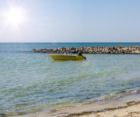 yellow boat with a motor at anchor near the shore Photo