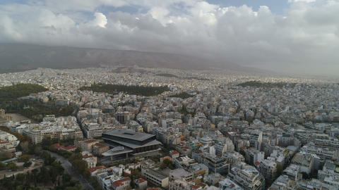 Beautiful aerial cityscape of Athens with modern museum of Acropolis Live Action
