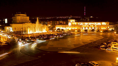 Republic Square with illuminated musical fountain and... Stock Video Footage