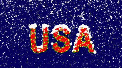 New Year text country name USA. Snow falls. Christmas mood, looped video. Alpha Animation
